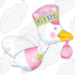 Фольгированный аист для девочки