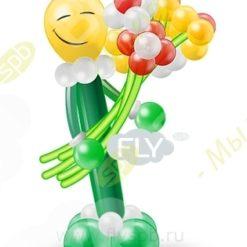Фигура из шаров человечек с цветами